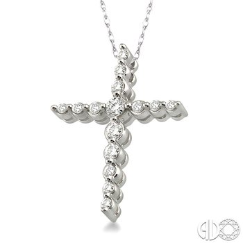 1/4 Ctw Round Cut Diamond Journey Cross Pendant in 14K White Gold with Chain