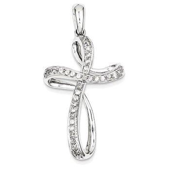 14K White Gold & Diamond Cross Pendant