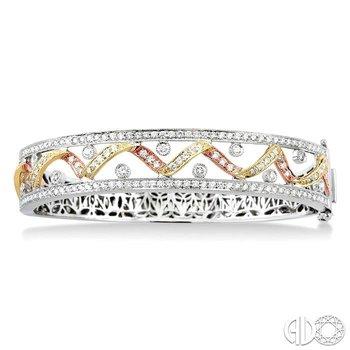 TRI COLOR CHANNEL SET DIAMOND BANGLE