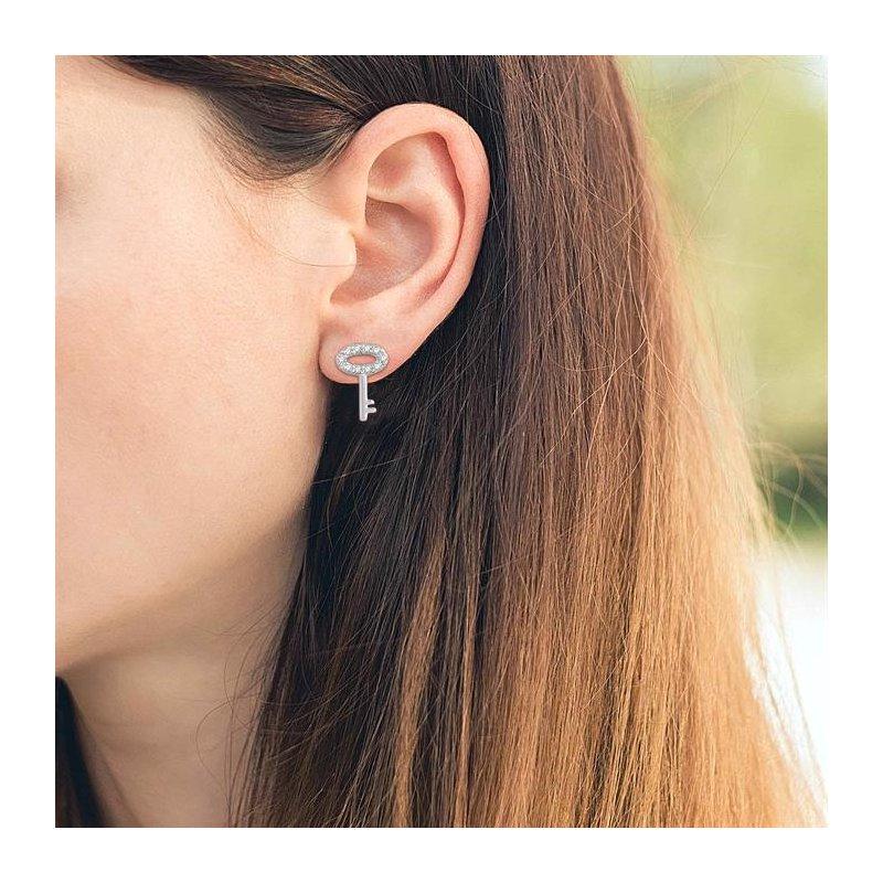 Lovebright Collection Jewelry 'HEART SHAPE LOCK' & 'KEY' DIAMOND EARRINGS