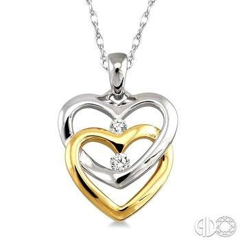 TWIN HEART 2STONE DIAMOND PENDANT