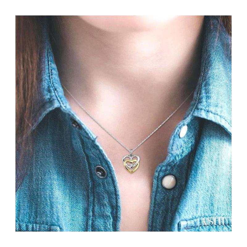 Lovebright Collection Jewelry TWIN HEART 2STONE DIAMOND PENDANT