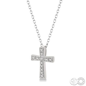 1/20 Ctw Single Cut Diamond Cross Pendant in Sterling Silver with Chain