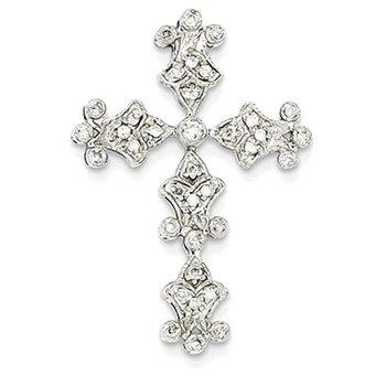 14k White Gold Diamond Filigree Cross Pendant