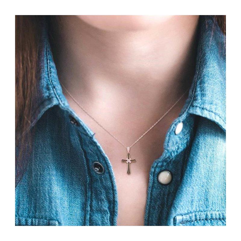 Lovebright Collection Jewelry CHAMPAGNE DIAMOND CROSS PENDANT