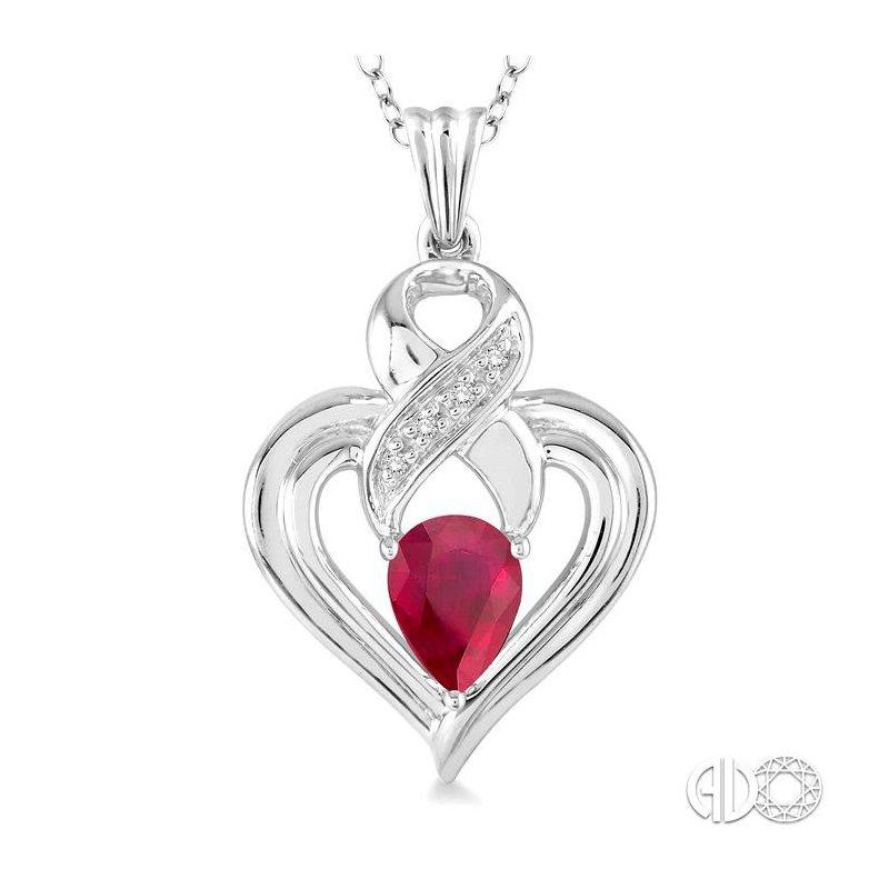 Lovebright Collection Jewelry SILVER HEART SHAPE GEMSTONE& DIAMOND PENDANT