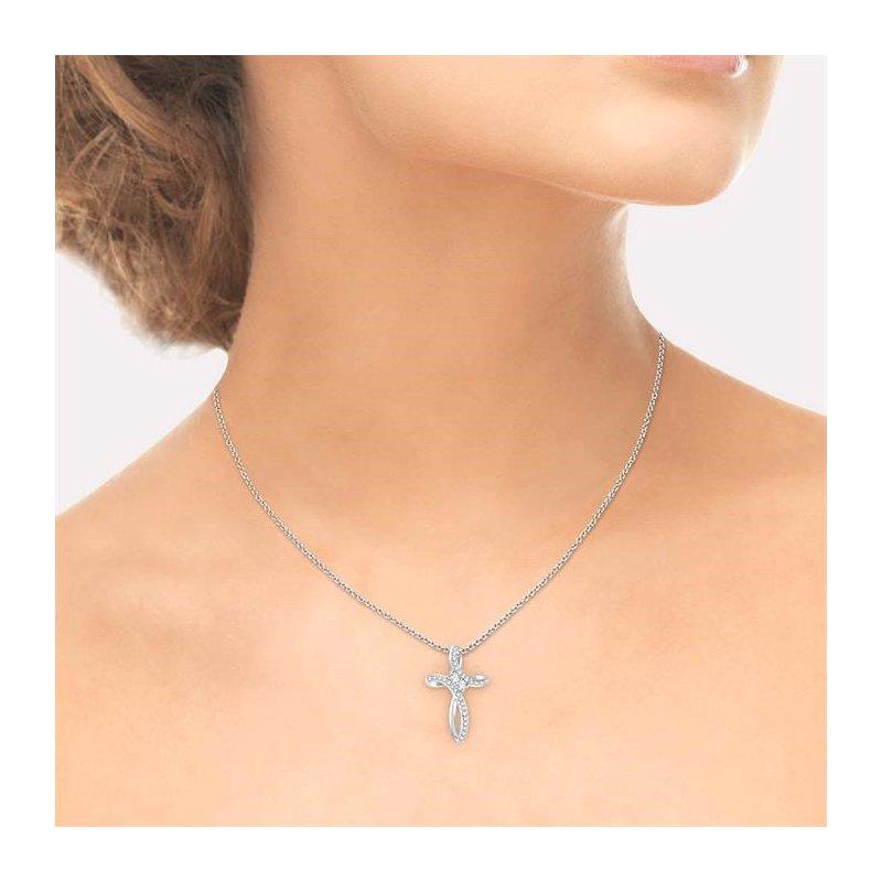 Lovebright Collection Jewelry 2STONE CROSS DIAMOND PENDANT