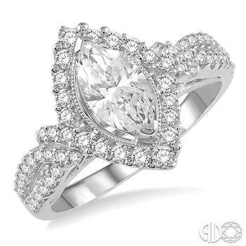 MARQUISE SHAPE SEMI-MOUNT DIAMOND RING