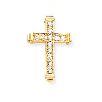 14k AA Diamond Latin Cross Pendant