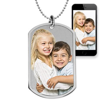 Stainless Steel Photo Dog Tag Photo Pendant w- 24 inch Ball Chain
