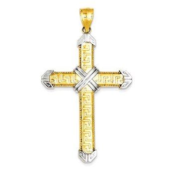 14k and Rhodium Cross Pendant