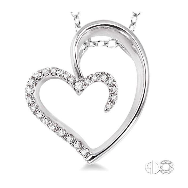 Lovebright Collection Jewelry SILVER HEART DIAMOND PENDANT