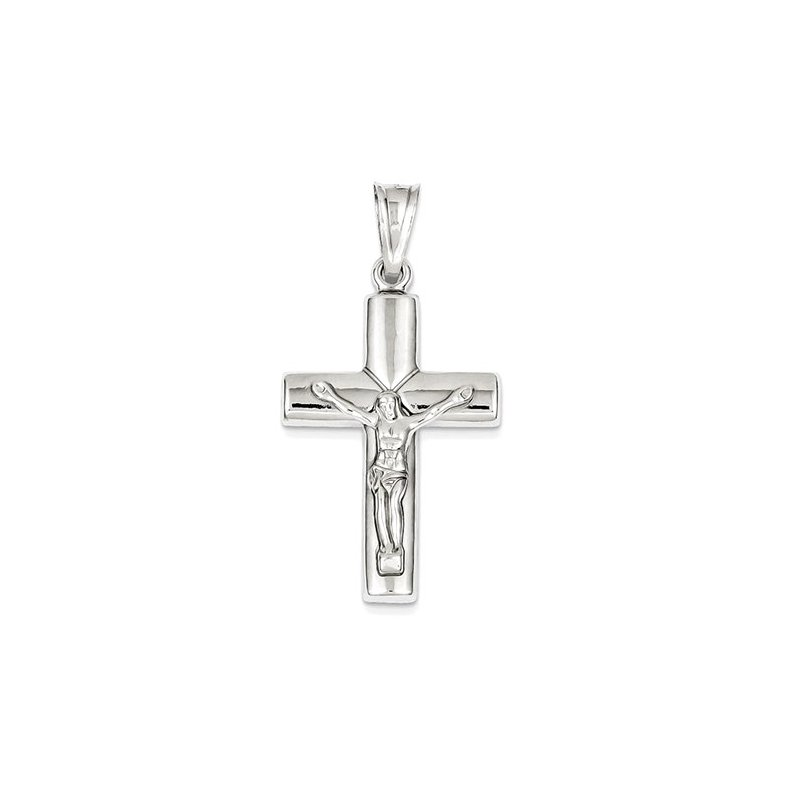 Lovebright Collection Jewelry 14k White Gold Reversible Crucifix /Cross Pendant