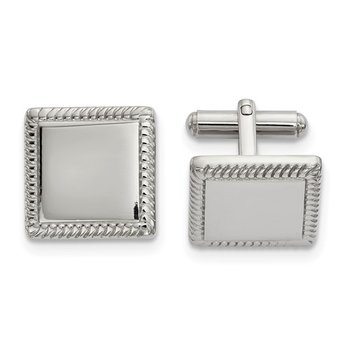 Stainless Steel Polished Square Cufflinks - with Engraving