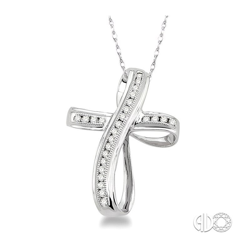 Lovebright Collection Jewelry 1/4 Ctw Channel Set Round Cut Diamond Cross Pendant in 14K White Gold with Chain