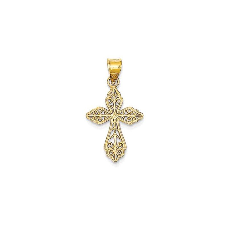 Lovebright Collection Jewelry 14K Diamond-cut Small Filigree Cross Pendant
