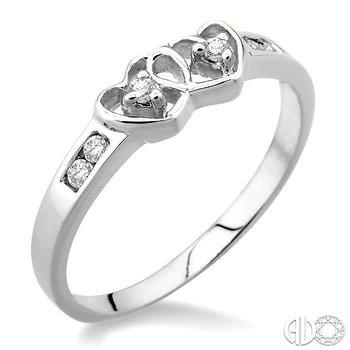 SILVER 2STONE TWIN HEART DIAMOND RING