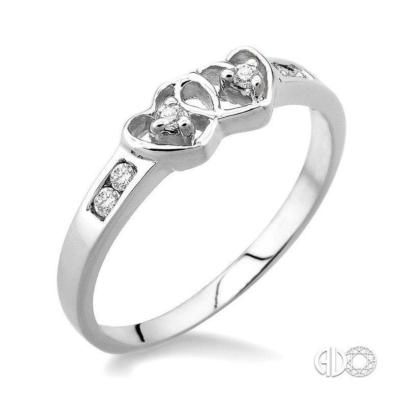 Lovebright Collection Jewelry SILVER 2STONE TWIN HEART DIAMOND RING