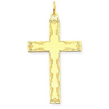 14K Laser Designed Cross Pendant
