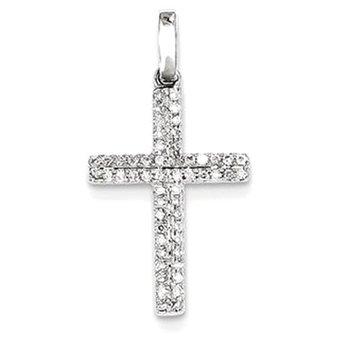 14k White Gold Diamond Small Cross Pendant