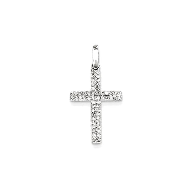 Lovebright Collection Jewelry 14k White Gold Diamond Small Cross Pendant