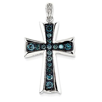 14k White Gold White & Blue Diamond Cross Pendant