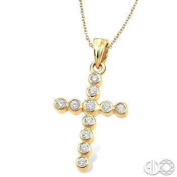 1/4 Ctw Round Cut Diamond Cross Pendant in 14K Yellow Gold with Chain