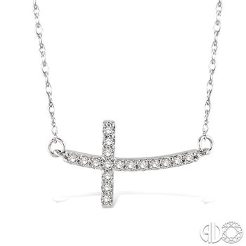 1/5 Ctw Round Cut Diamond Cross Pendant in 14K White Gold with Chain