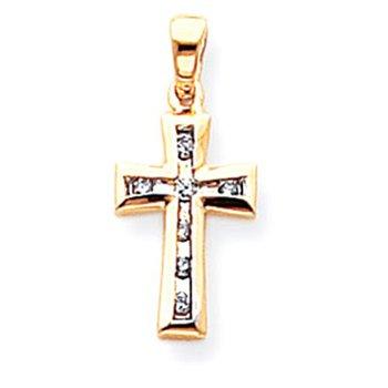 14k & Rhodium Diamond Cross Pendant