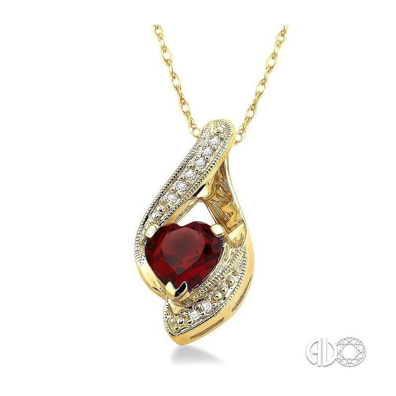 Lovebright Collection Jewelry HEART GEMSTONE & DIAMOND PENDANT