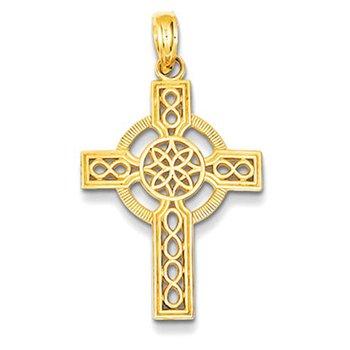 14k Diamond-cut Celtic Cross Pendant