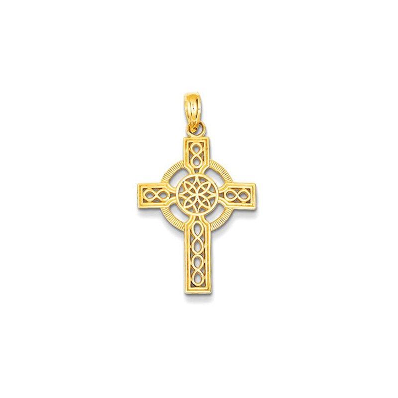 Lovebright Collection Jewelry 14k Diamond-cut Celtic Cross Pendant