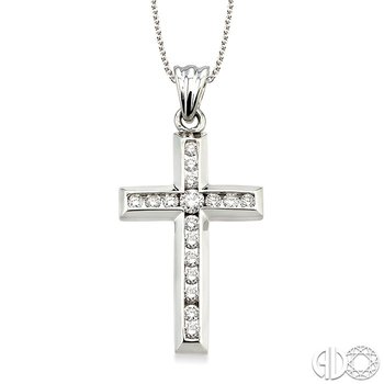 1/2 Ctw Round Cut Diamond Cross Pendant in 14K White Gold with Chain