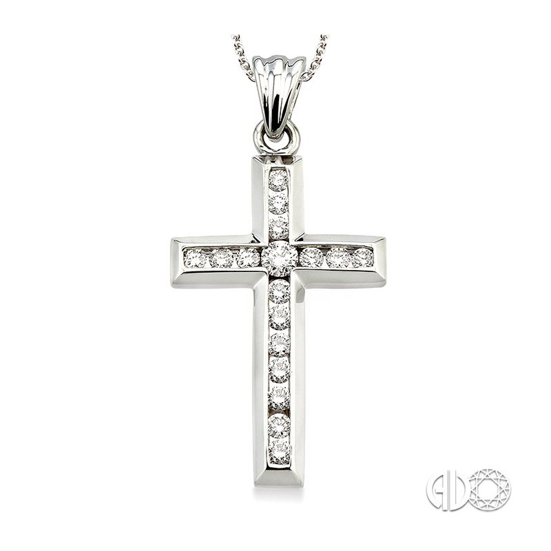 Lovebright Collection Jewelry 1/2 Ctw Round Cut Diamond Cross Pendant in 14K White Gold with Chain