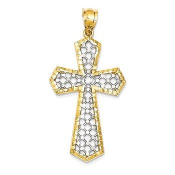 14k w/Rhodium Diamond-cut Fancy Cross Pendant