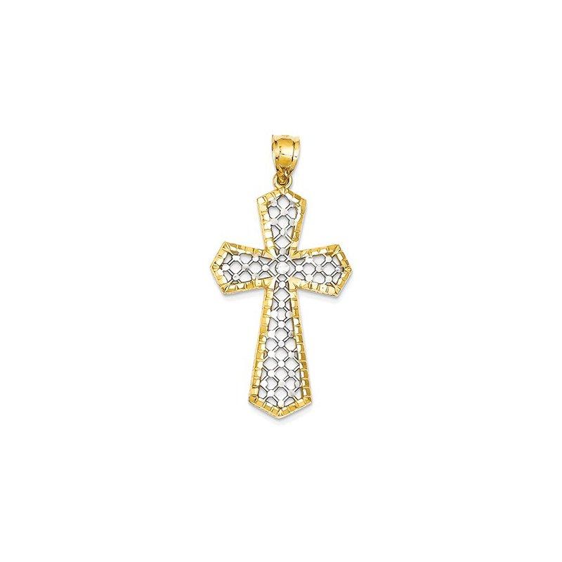 Lovebright Collection Jewelry 14k w/Rhodium Diamond-cut Fancy Cross Pendant