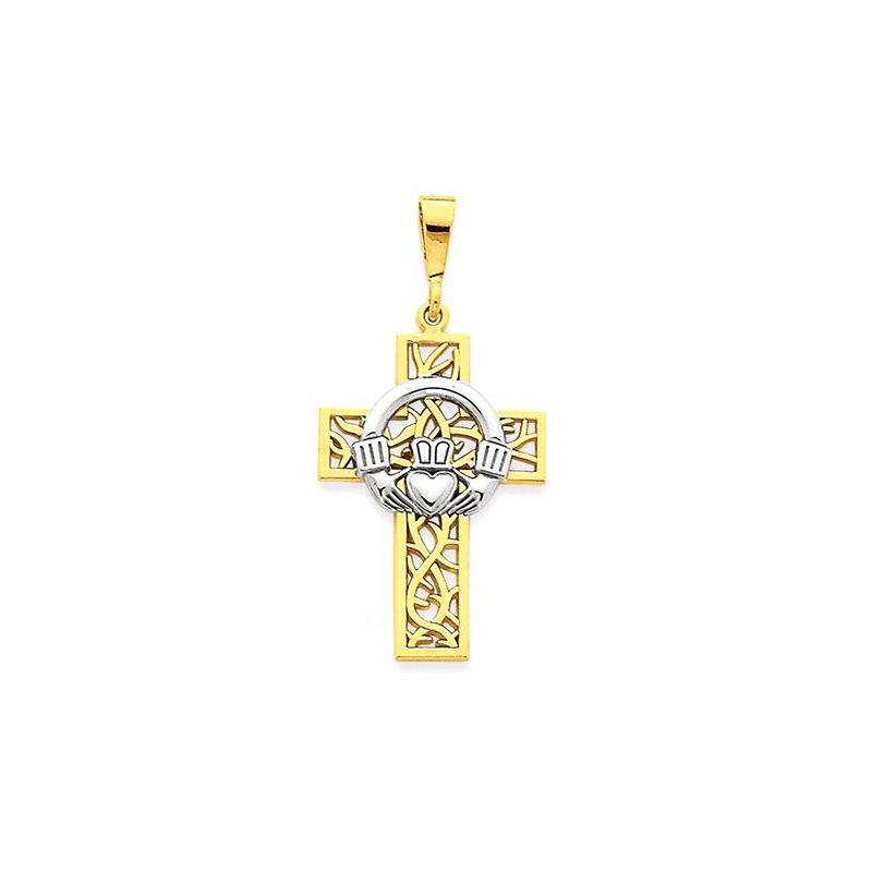 Lovebright Collection Jewelry 14k Two-tone Claddagh Cross Pendant
