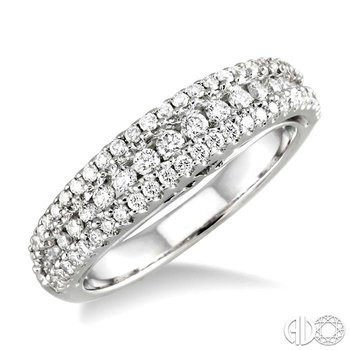 THREE ROW DIAMOND WEDDING BAND