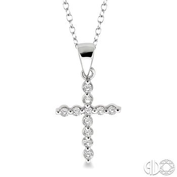 1/10 Ctw Round Cut Diamond Cross Pendant in Sterling Silver with Chain