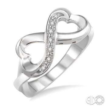 SILVER INFINITY HEART DIAMOND RING