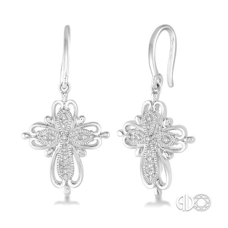 Lovebright Collection Jewelry SILVER CROSS DIAMOND EARRINGS