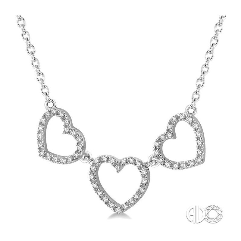Lovebright Collection Jewelry TRI HEART DIAMOND NECKLACE