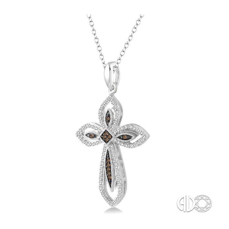 Lovebright Collection Jewelry SILVER CROSS CHAMPAGNE DIAMOND PENDANT