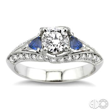 GEMSTONE & DIAMOND ENGAGEMENT RING