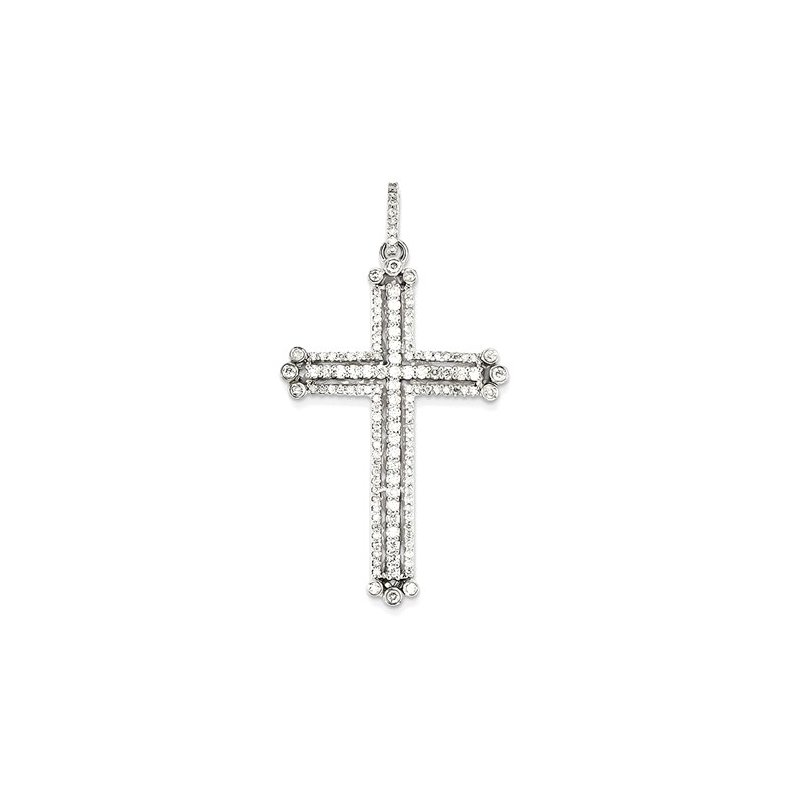 Lovebright Collection Jewelry 14k White Gold Diamond Budded Cross Pendant