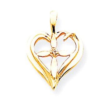 14k AA Diamond Heart Cross Pendant
