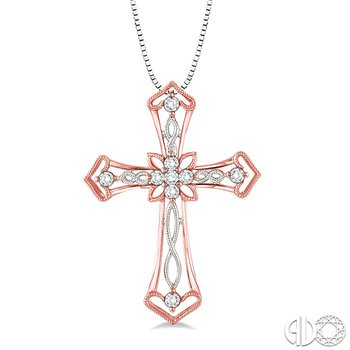 1/5 Ctw Round Cut Diamond Cross Pendant in 14K Pink and White Gold with Chain