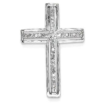 14K White Gold Diamond Cross Pendant Slide