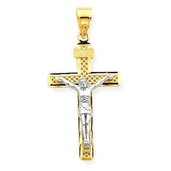 14K Two-tone D/C Large Block Lattice Cross w/Crucifix Pendant