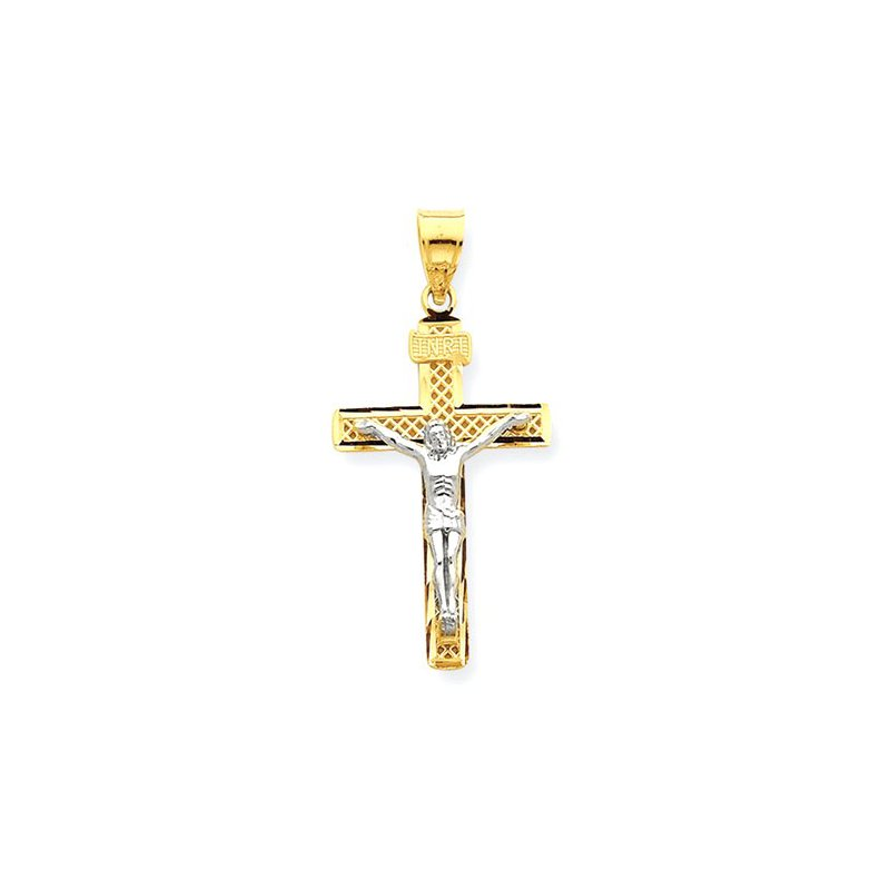 Lovebright Collection Jewelry 14K Two-tone D/C Large Block Lattice Cross w/Crucifix Pendant